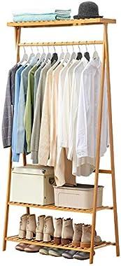N&Y Coat Rack Storage Household 2-Tier Shoe Clothing Storage Organizer Shelves Wood Bedroom Hanger Simple and Modern Floor-to