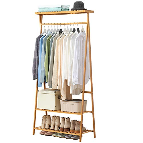 Bamboo Clothes Rack Heavy Duty Garment Rack Coat Hanging Stand with 6 Hooks, 3 Tier Storage Shelves Closet Organizer for Bedroom, Living Room, Guest Room, Apartment and Entryway
