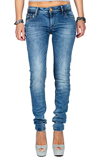 Cipo & Baxx Damen Jeans WD344-bans Blau W27/L32