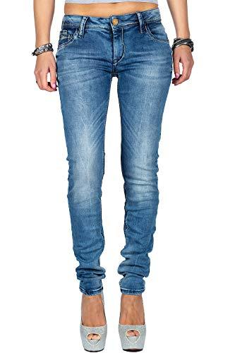 Cipo & Baxx Damen Jeans WD344-bans Blau W28/L34