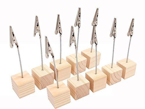 CCINEE 木製 スワイヤ メモスタンド メモクリップ フォルダ フォトカードホルダー 写真立て 卓上ワニクリップ 10個セット