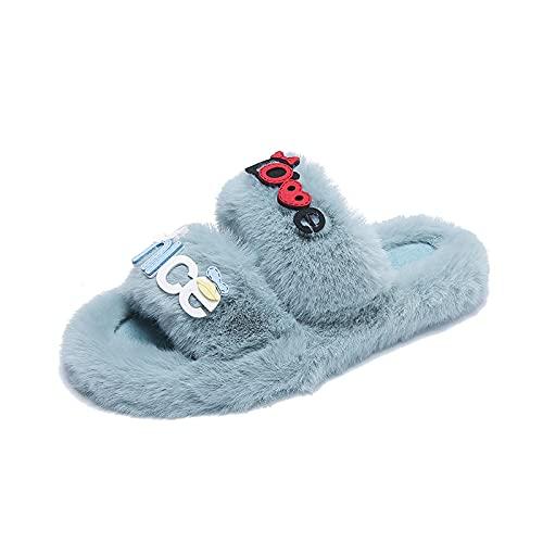 NUGKPRT chanclas,Pantuflas familiares para mujer Comfy Open Toe Dos toboganes Forro Interior Exterior 10 Azul cielo