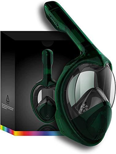Tooklanet Mascarilla Completa del Snorkel de la Cara, del HD y 180 º fácil-a-respiran la máscara panorámica del Snorkel con Anti-Niebla y la Anti-Salida, Correas Principales Desmontables, Ajustables