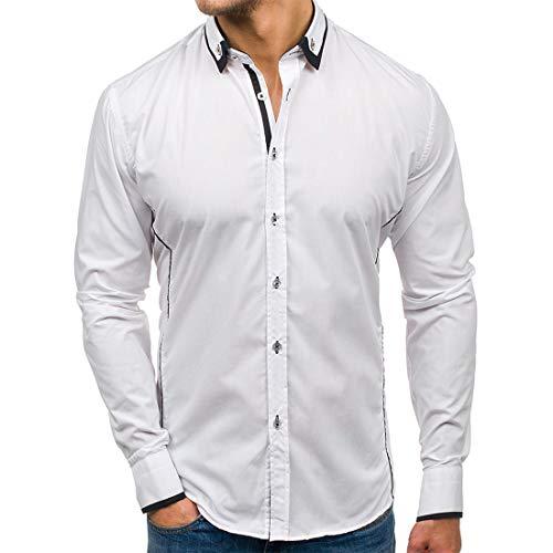 ZCZH Men's Shirt Long Sleeve New Spring Dress Shirt Fashion Plain Lapel Shirts Autumn Loose Casual Shirt Button Classic Business Tops XL