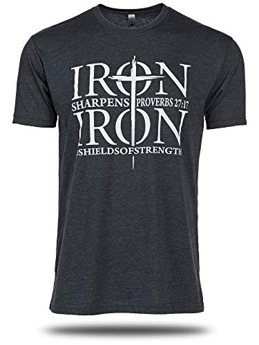 Iron Sharpens Iron, Midnight Navy Shirt-Proverbs 27:17