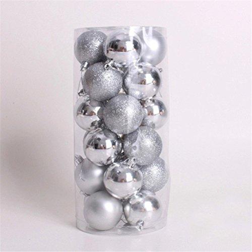 Pixnor 24PCS palle di Natale ornamenti decorazione (argento)