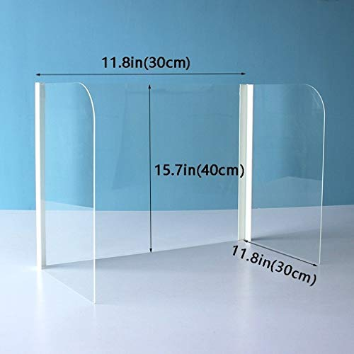 Hand sanitizer Desktop Plexiglass Sneeze Guard Countertop Germ Barrier Acrylic Safety Face Shields (Size : 30×30×40cm)