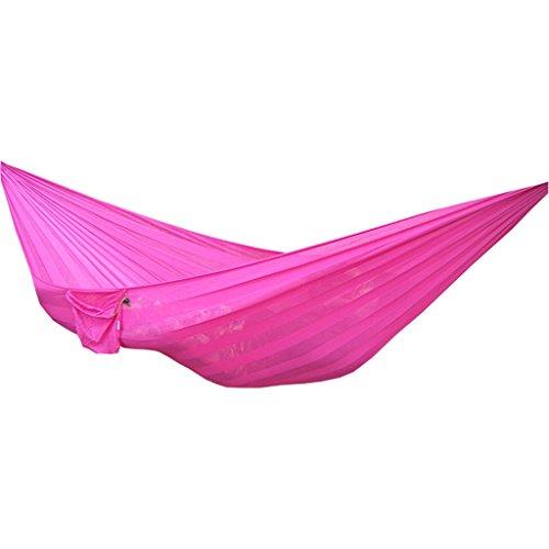 NYDZ hangmat, Ice Silk Mesh Nylon, dubbele verbrede Camping schommelstoel, meerkleurig optioneel, 230 * 160cm roze
