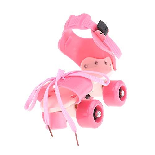 Hellery 4 Räder Rollschuhe Zweireihige Gleitschuhe Spielzeug Für Jungen Mädchen - Rosa, M