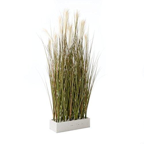 Pureday Kunstpflanze Gras - Raumteiler - Grün Weiß - Höhe ca. 153 cm
