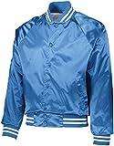 Augusta Sportswear 3610 Men's Satin Baseball Jacket/Striped Trim, Large, Columbia Blue/White