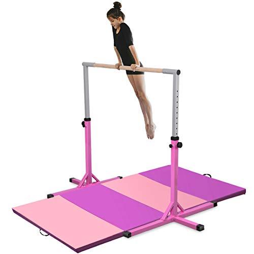 Costzon Junior Training Bar, Gymnastics Adjustable Steel Gymnastic Horizontal Bar with 4 ft Gymnastics Mat (Pink)