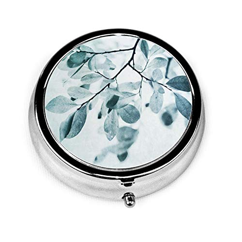 Leaves in Dusty Blue Priska Wettstein Round Pill Container 3 Compartment Metal Medicine Case Vitamin Organizer Holder Decorative Box for Travel Outdoors