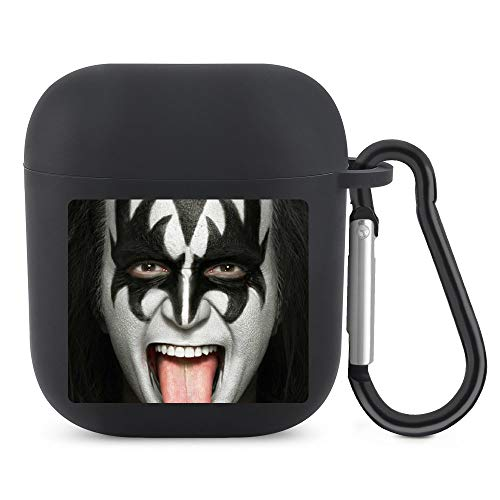 Gene Simmons Case Compatible for Airpods 1/2 Cartoon Design Cute Silicone Cover Kawaii Fashion Funny Character Unique Shockproof Keychain Soft Protective Black-style1