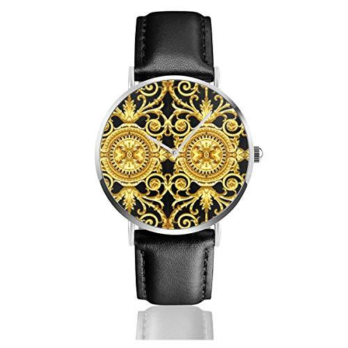 Filigrane Barock-Uhr Rokoko Schwarz Gold Blumen Blumen Blätter Blätter Klassisch Casual Quarzuhr Edelstahl Lederarmband Uhren