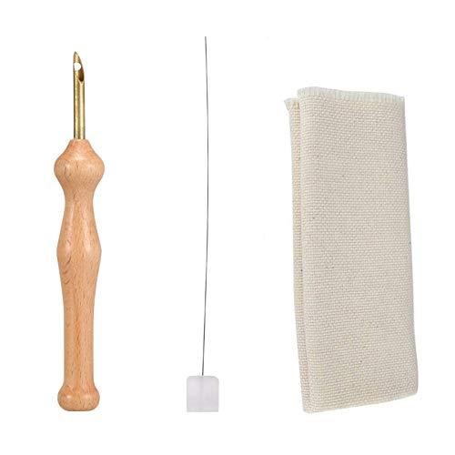 Liamostee Mágico Bordado Bolígrafo Perforadora Fieltro de Aguja Roscadora Paño Set Mango de Madera Manteles Herramientas de Arte Bricolaje Costura