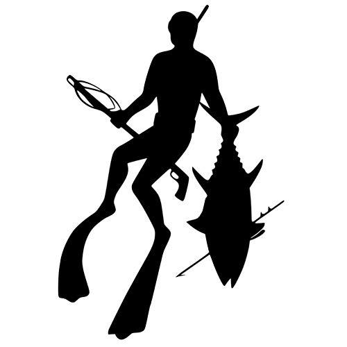 WLHAL Coche CalcomaníAs,11,4 CM x 16,9 CM Pesca Cinturón de Buceo Snorkel Calcomanía Etiqueta engomada del Coche Negro/Plata