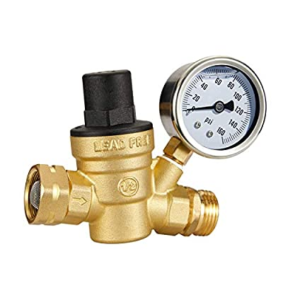 Esright Brass Water Pressure Regulator 3/4 Lead-Free with Gauge for RV Camper Adjustable Water Pressure Regulator,Build-in Oil (NH Threads) by Esright
