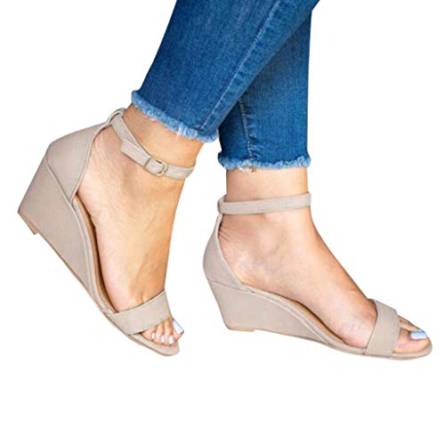 haoricu Womens Wedge Sandals Ladies Platform Wedge Open Toe Dress Shoes Roman Shoes Sandals
