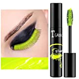 Eyret Waterproof Long-lasting Colorful Mascara Fluorescent Green Smudgeproof Fast Dry Eye Lashes Curling Lengthening Thick Eyelashes Paste Beauty Makeup for Women and Girls (5#)