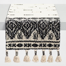 Black and White Textured Table Runner with Tassels | World Market