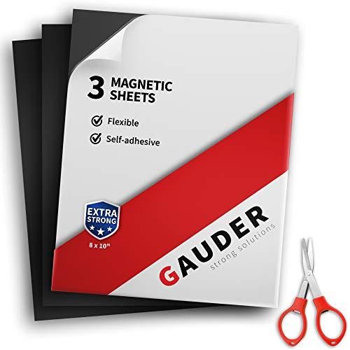 GAUDER Magnetfolie selbstklebend extra groß | Magnetische Folie schwarz | Für Fotos, Schilder & Postkarten (3 Stück)