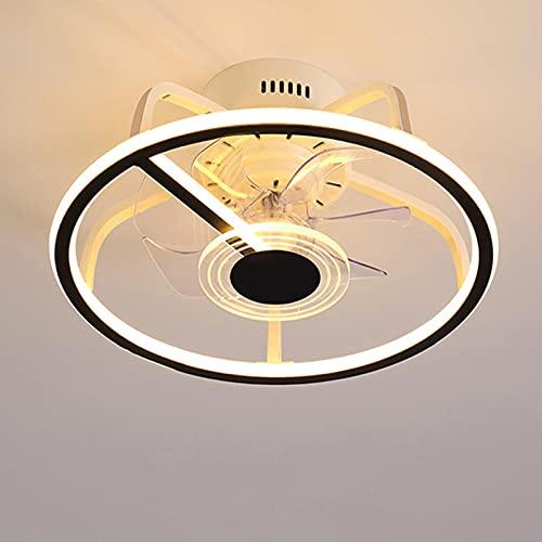 Ventilador De Techo De 45Cm Con Iluminación, Comedor 58W Regulable Ventilador De Luz De Techo Con Control Remoto, Invisiblemente Silencioso 3 Velocidad Del Viento Ajustable Lámpara De Fan
