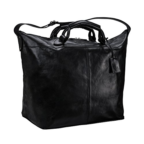 Maxwell Scott Bags® Luxus Leder Reisetasche in Schwarz (Fabrizo)
