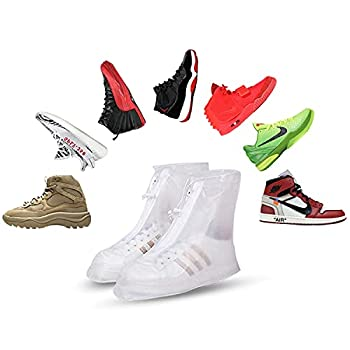 Shoe Shield Shoe Covers Disposable Non Slip – 1 Pair Reusable Shoe Covers with Carry Bag – Transparent Comfortable and Lightweight Waterproof Shoe Covers – Ideal for Concerts Labs Running.