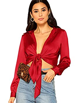 Best red satin blouse Reviews