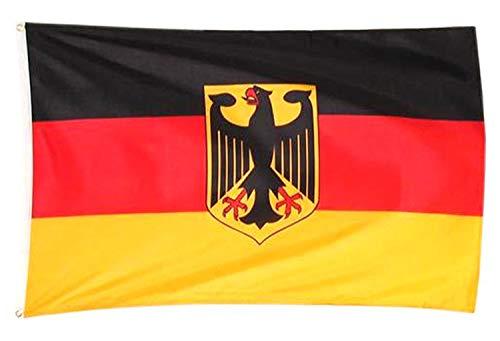 Deutschlandfahne mit Ösen & Adler-Wappen 150 x 90 cm Hissflagge Deutschland-Flagge Deutsche Fahne Nationalflagge