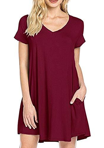 OMZIN Damen V-Ausschnitt Kleid Swing Lose Flowy Casual Tunika Hemdkleid - Rot - Groß