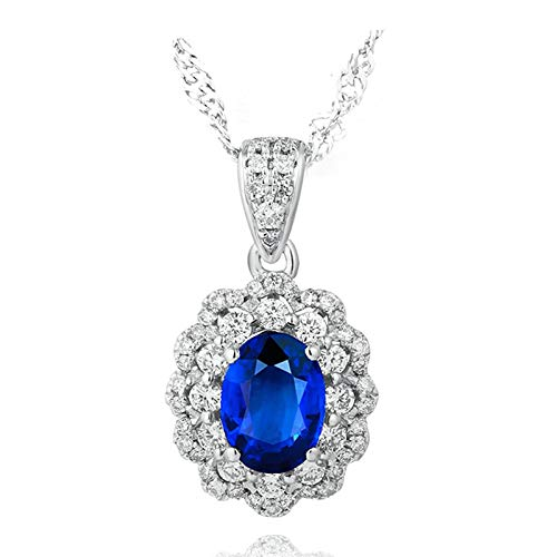 Aartoil Mujer oro blanco 18 quilates (750) ovalada Blue White Sapphire