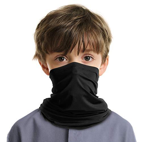 LUNGEAR Neck Gaiter Cooling Kids Bandana UV Sun Protection Scarf Balaclava for Children (Black)
