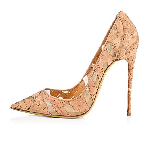 QUNHU Zapatos Toe Punta Las Mujeres,Zapatos Fiesta Boda Huecos Gran Tamaño,Zapatos Madera Grano Mujer,Beige,Tamaño 34-46,36 EU (Color : Apricot, Size : 41 EU)