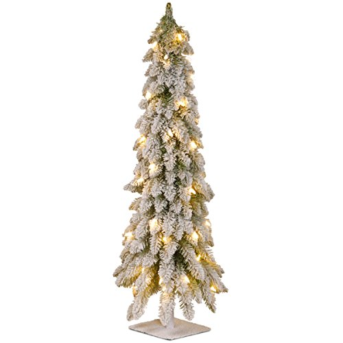 National Tree Company Pre-lit Artificial Mini Christmas Tree | Includes Pre-strung White Lights | Snowy Downswept Forestree - 3 ft