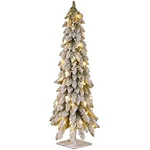 National Tree Company Pre-lit Artificial Mini Christmas Tree | Includes Pre-strung White Lights | Snowy Downswept Forestree – 3 ft