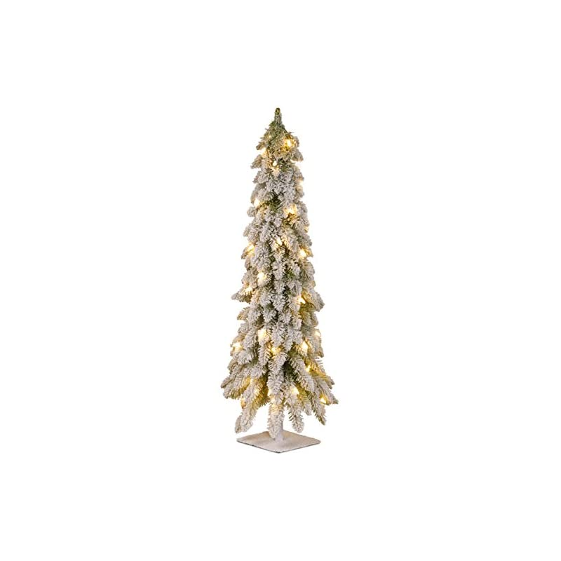 silk flower arrangements national tree company pre-lit artificial mini christmas tree   includes pre-strung white lights   snowy downswept forestree - 3 ft