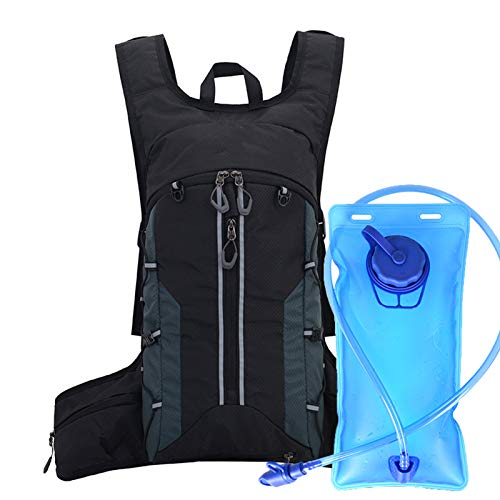 U/N Mochila de hidratación de 2 litros con Bolsa de vejiga de Agua, Mochila de Ciclismo con Funda para Casco, Cintura Ajustable y Correa para el Hombro para Correr, Senderismo (Negro Gris)