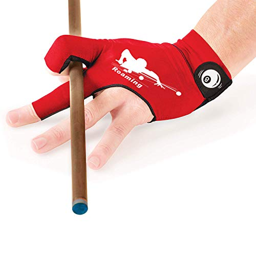 Roaming Quick-Dry Breathable Billiard Shooters Carom Pool Snooker Cue Sport Glove Fits on Left Hand (Red, L/XL)
