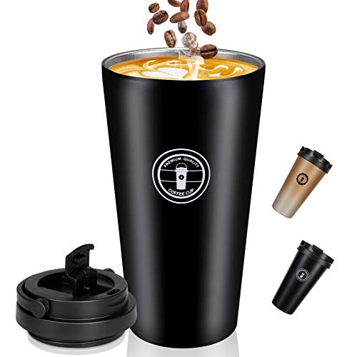 Jovego Termo Taza de Café, 500ml Vaso Termico de Viaje 100% a Prueba de Fugas, Taza de Acero Inoxidable para Beber con Aislamiento de Doble Pared, Tazas Cafe Reutilizable para Niños & Adultos(Negro)