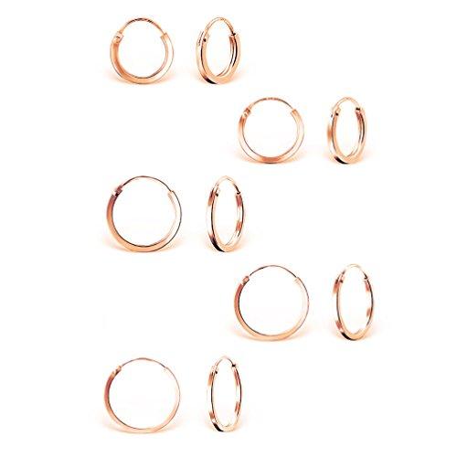 DTP Silver - 5 Pares de Pendientes de Aro Pequeños/Medianos - Creoles con Borde Cuadrado - Plata de Ley 925, Plateada en Oro Rosa - Espesor 2 mm, Diámetro 10, 12, 14, 16 y 18 mm