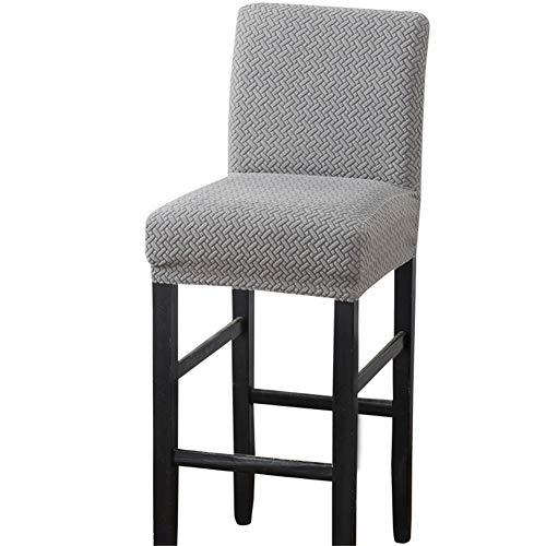 Fundas elásticas para taburetes de bar con respaldo, fundas para sillas de comedor, forro polar, fundas para sillas de comedor giratorias cortas (gris claro, 2 piezas)