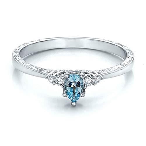 Mvude Sky Blue - Anillo para mujer de imitación aguamarina y piedras preciosas, anillo de boda, platino, 10