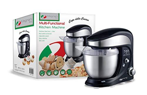 MAGNANI Multifunktionale Küchenmaschine 500 W, Knetmaschine mit verschiedenen Geschwindigkeitsstufen, Rührmaschine Teigmaschine Rührgerät, mit 4 l Rührschüssel aus Edelstahl