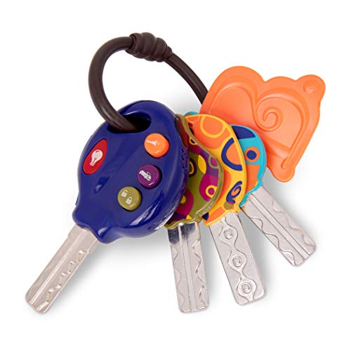 B. toys by Battat 4 Textured Toy Car Keys for Babies & Toddlers – LucKeys – Blue – Flashlight & 3 Car Sounds – Non-Toxic – Interactive Baby Teething Toys – 10 Months +