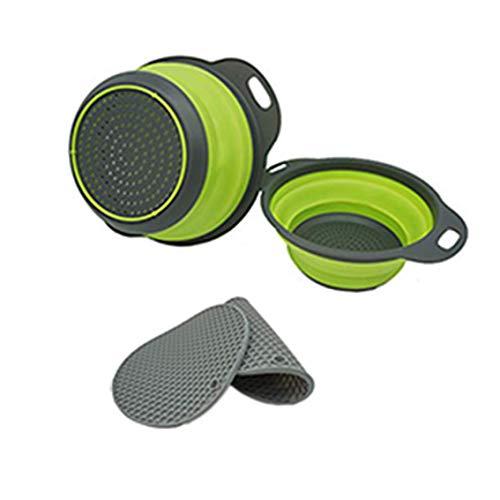 Colador plegable (verde), juego de 2 coladores redondos de silicona para pasta de cocina, 2 salvamanteles (gris), soportes multiusos de...