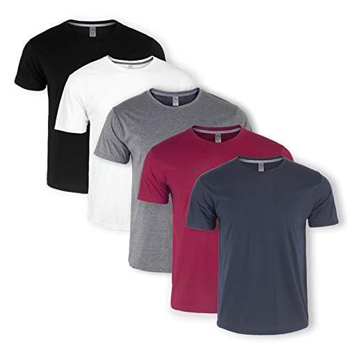 Teesmen Mens Plain T-Shirts 5 Pack Short Sleeve Crew Neck Sport Tees Cotton Workwear Boys Undershirts Gym Running Workout Tshirts for Men (XXXL)