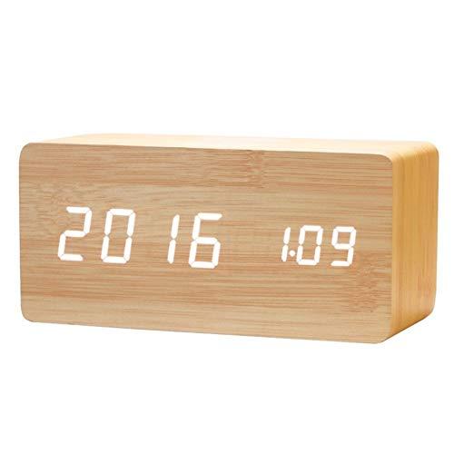 HAIK Creativa del teléfono móvil inalámbrico del Cargador LED de Madera Reloj Despertador electrónico Curva Ancha LED Escritorio/estantería Digital (Color : White)