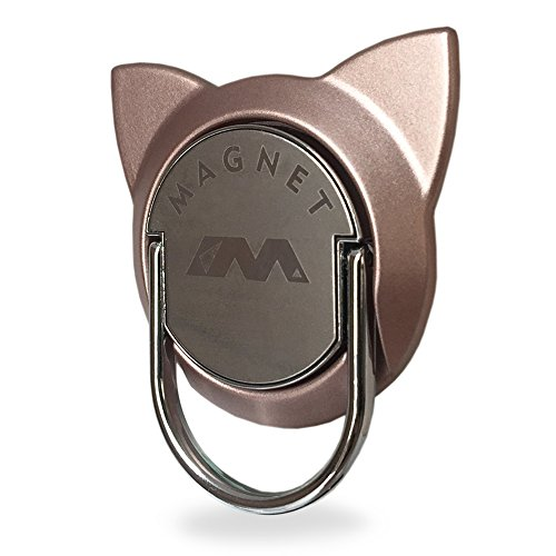 Finger Ring for Magnetic Car Mount,Metal Cell Phone Finger Holder Stand, Pop 360 Rotation Cat Shape Grip Socket Kickstand for iPhone X 7 8 Plus 6 6S SE, Samsung Galaxy Note 8 S8 S7 Tablet (Rose Gold)